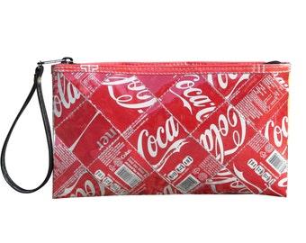 Large zip wristlet Coca Cola can, FREE SHIPPING, clutch wallet, clutch zipper Bag, pouch makeup, Wallet purse, women's wallet