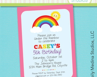 Custom Under the Rainbow Birthday Pink - Primary - Personalized Printable Digital Invitation - Personal Use Only