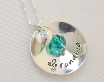 Grandmother Charm with HEART charm Necklace and Swarovski Birthstone Crystals