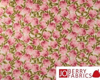 Botanical Collection Quilt or Craft Fabric by The Henley Studio for Makower UK, Botanical Rose, Fabric by the Yard