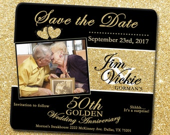 Save the Date Card - 50th Anniversary Save the Date Card,Gold Glitter Save the Date,50th Save the Date,Golden Anniversary Save the Date Card