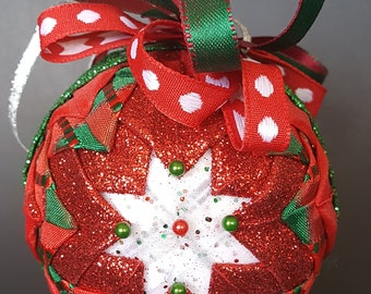 Christmas Quilted Ribbon Ornament with White star center