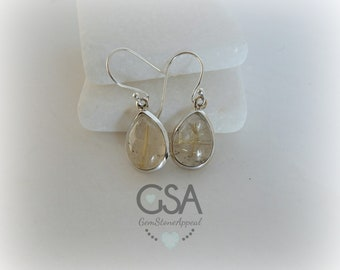 Gold Rutilated Quartz Earrings//Rutilated Quartz Earrings//Unique Quartz Earrings//Gold Rutile Quartz Earrings//Rutilated Quartz Earrings