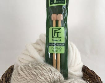 Clover Takumi Premium Bamboo Knitting Needles - Size 8 (5mm, UK 6)  - 9""