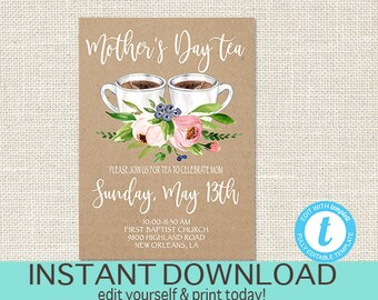 Mother's Day Tea Invitation, EDITABLE Church Tea Invite, Mothers Day Brunch, Kraft Pink Floral, PRINTABLE, templett, Instant Download