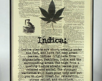 Cannabis Indica Dictionary Book Art Print, UNFRAMED, FREE Shipping in USA