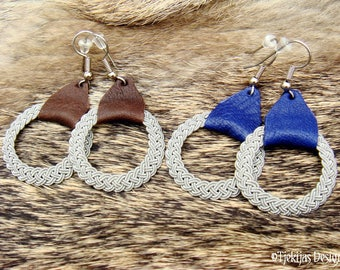 Norse Viking Earrings ASGARD Handmade Sami style Earrings in braided Pewter and Reindeer Leather | 30 colors to choose from