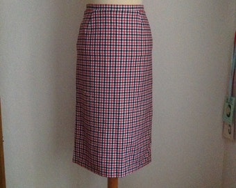 70s Red White Wool Midi Skirt Houndstooth Below The Knee Tight Small