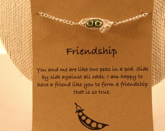 Two Pod Bracelet: Two Peas in a Pod Friendship Bracelet, Peas in a Pod, Pea Pod Bracelet, Wish Jewelry, Best Friends, Friendship Bracelet