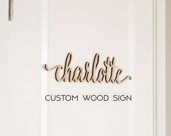 Custom Script Word, Personalized Wood Sign, Wooden Name, Rustic Cursive Word, Room Decoration, Nursery, Wall hanging, Unfinished Wood