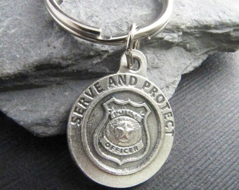 Saint Michael Police Officer Keychain - Reversible - Protection Saint for Police