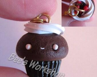 Black Forest Cake Cupcake Charm, Kawaii Cupcake Charm