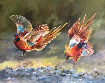 Original Oil painting of pheasants