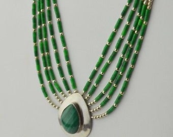 Sterling Silver 925 Estate Malachite 5/Five Strand Necklace