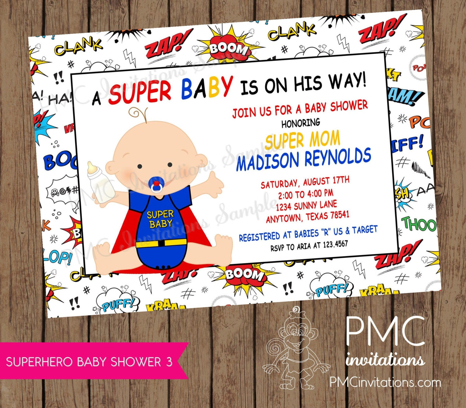 Superhero Baby Shower Invitations 1.00 each with envelopes