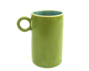 festive hand built porcelain cup ...  happy jade and green ceramic mug