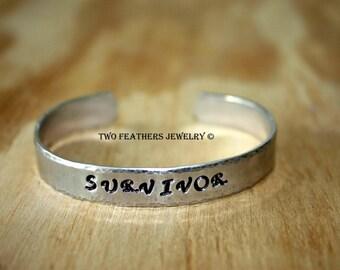 SURVIVOR Bracelet - Hand Stamped Cuff Bracelet - Hammered Cuff - Silver Bracelet - Message Bracelet - Inspirational - Aluminum Cuff