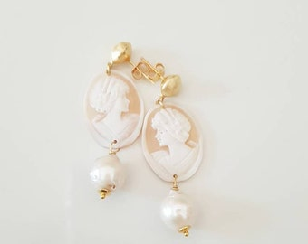 cameos earrings, Silver and fresh water pearls