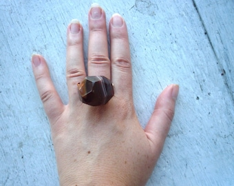 Big Chunky Wire Wrapped Agate Ring / Big Rock Geometric Ring