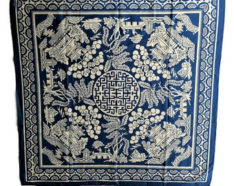 NOS - Blue and White Cotton Scarf Featuring Pagodas and Asian Motif - Musee De L'Impression Sur Etoffes - French Textile Museum