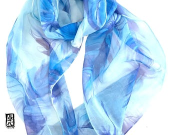 Silk Scarf Handpainted, Blue Silk Infinity Scarf, Feather Print Scarf, Loop Scarf, Spring Blue Feathers, 11x60 inch, Made to order