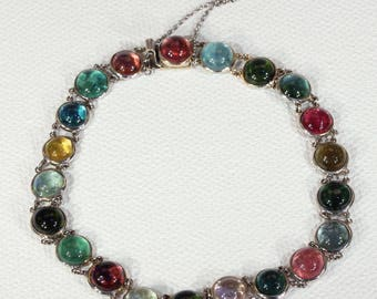 Edwardian Multi-Color Tourmaline Bracelet in Platinum