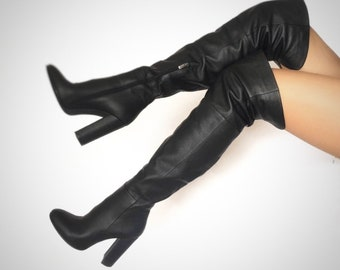 Edza Heidi Black Leather High Heel over the knee boots, thigh high boots, 39 40 41 42 8 9 10 11