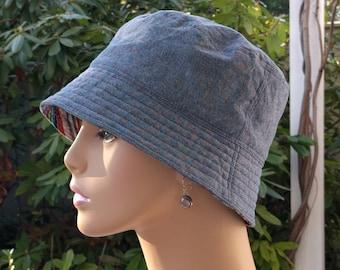 Womens Chemo Hats Cancer Hats 'Denim'  Blue Chambray with Kaffe Fassett designer Reverse   SMALL-MEDIUM