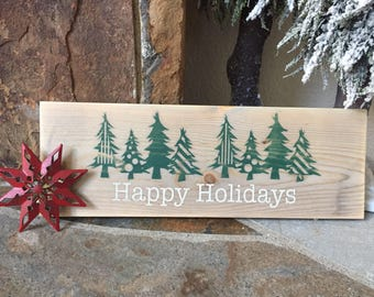 Happy holidays rustic sign, happy holidays, rustic decor, rustic holidays, distressed holiday sign, rustic holiday decor, rustic christmas