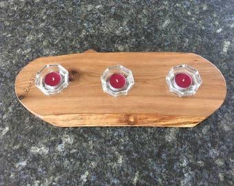 Elm Platter/Candleholder, with 3 glass candlestick holders