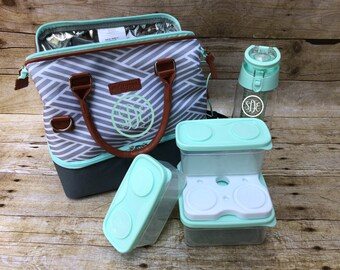 Personalized Monogram Arctic Zone Lunch Tote w/ Container Set, Ice Brick, and Infuser Water Bottle