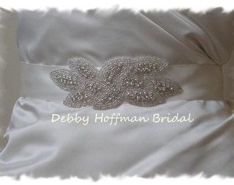 Rhinestone Crystal Wedding Dress Sash, Leaf Bridal Belt Sash, Jeweled Wedding Sash, Crystal Bridal Sash, Wedding Belts Sashes, No. 3020S1.5