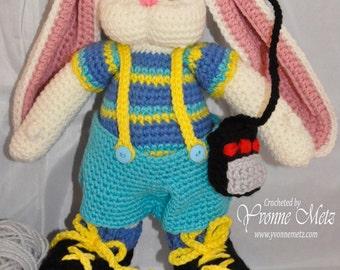 "Ready to Ship - 13"" Adorable Handmade Crocheted Amigurumi Roller Skating Bunny Doll"