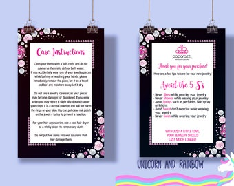 UPDATED LOGO Paparazzi Postcard Care Instructions Instant Download