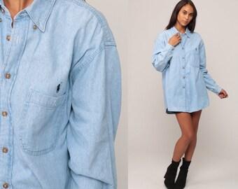 Denim Shirt Dress 90s RALPH LAUREN Oversize Blue Jean Shirt Grunge 1990s  Long Sleeve Boyfriend Button Up Vintage Retro Extra Large xl 2xl