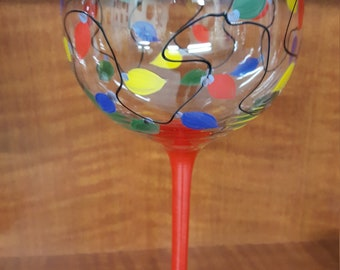 Hand Painted Holiday Lights Wine/Champagne Glass