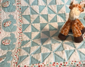 Handmade Baby Quilt with Appliqued Elephants and Teal Blue and White Pinwheels for Crib and Baby