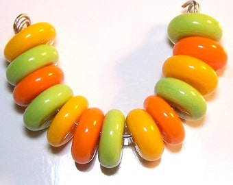 Handmade Lampwork Citrus Candy Style Spacer Beads by Cara