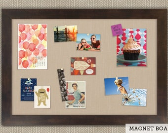 Magnetic Bulletin Boards | Framed Magnet Boards | Magnet Board | Decorative Magnet Boards - Espresso Frame + Khaki Fabric