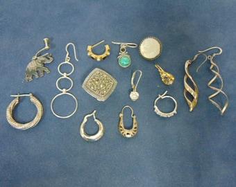 Safety Deposit Box Vintage Estate .925 Sterling Silver Earrings 27.5g E2468