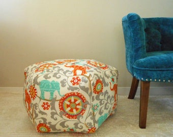 Elephant Pouf, indoor outdoor fabric, Orange, Ottoman, foot stool, Large Floor Pouf