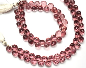"Kunzite Gem Color Hydro Quartz Facet 8MM Approx. Onion Shape Briolettes Beads 7"" Full Strand Super Fine Quality"
