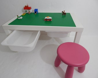 """Large Brick Building Storage Table 30""""x 20"""" Green Building Surface on White Table, 1 Stool"""