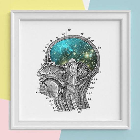 Galaxy Brain Print wall art Human anatomy print Science student gift Cosmic art print Universe and galaxy prints SKA112SQ1
