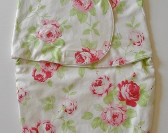 Reduced!! Baby SWADDLE BAG in Vintage Rose Fabric. Baby gift. 2 mths +
