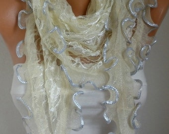 Pale Yellow Ruffle Lace Scarf ,Wedding Shawl,Bridal Scarf Cowl Scarf Bridesmaid Gift,Gift Ideas For Her,  Women Fashion Accessories