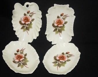 Vintage Set of 4 Rose Decorated Mint Nut Bowls