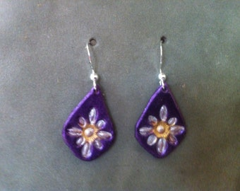 Iridescent purple and silver earrings