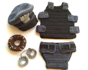 Crochet Baby Policeman PATTERN,Baby Policeman Outfit PATTERN,Police officer Costume,Policeman, Cops, Police Crochet,Policeman Photo Prop