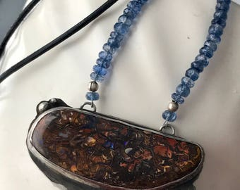Opal, London Blue Topaz, Kyanite Necklace